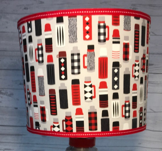 "045 Large Thermos Print Fabric Lampshade -  13"" Round"