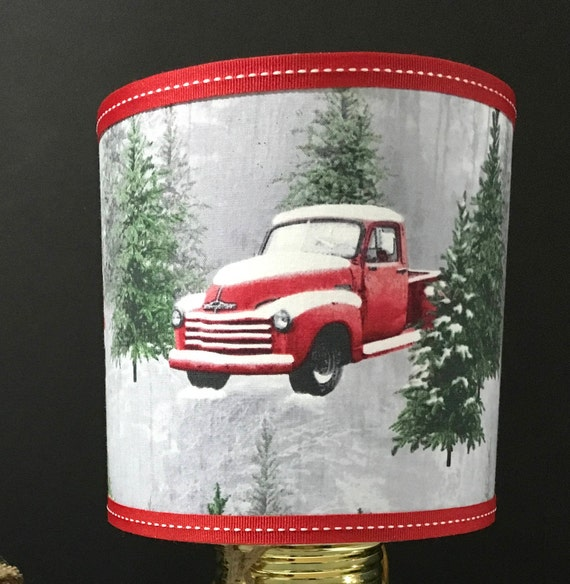 "Extra Small Fabric Lampshade - Vintage Red Pickup Truck - 6"" Round"