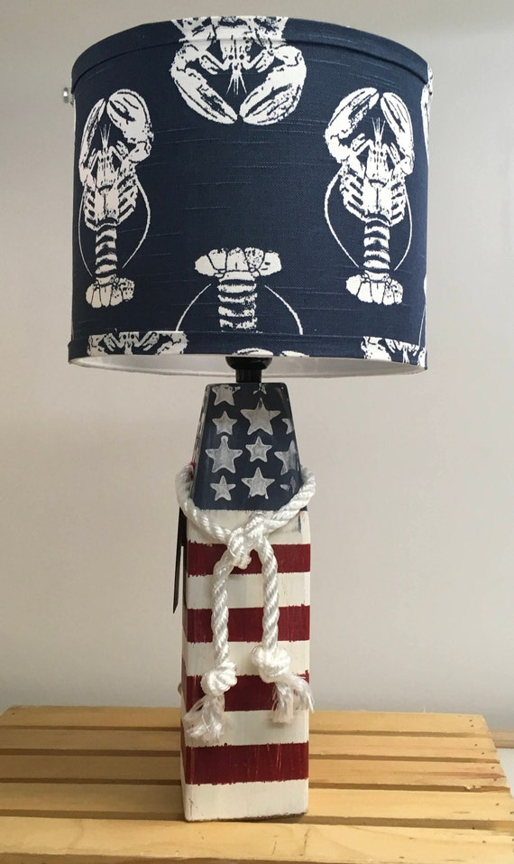 Medium Buoy Lamp with Navy Lobster Fabric Lampshade