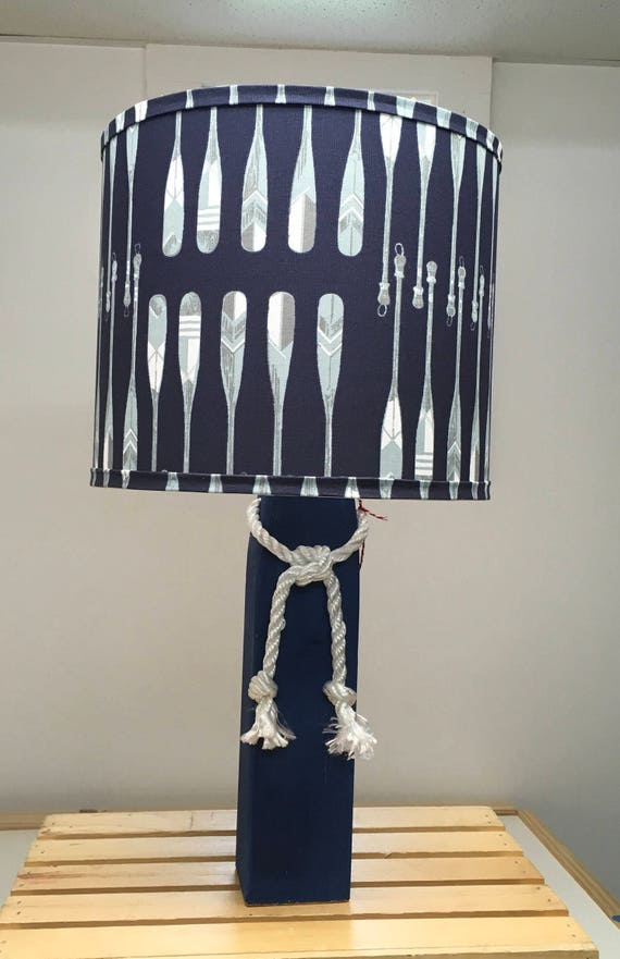 Large Buoy Lamp with Navy Oars Fabric Lampshade