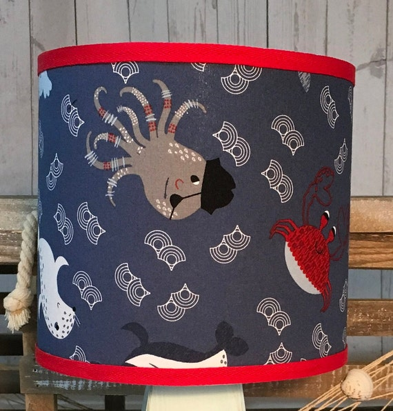 "Small ""Crabby"" Fabric Lampshade - 8"" Round"