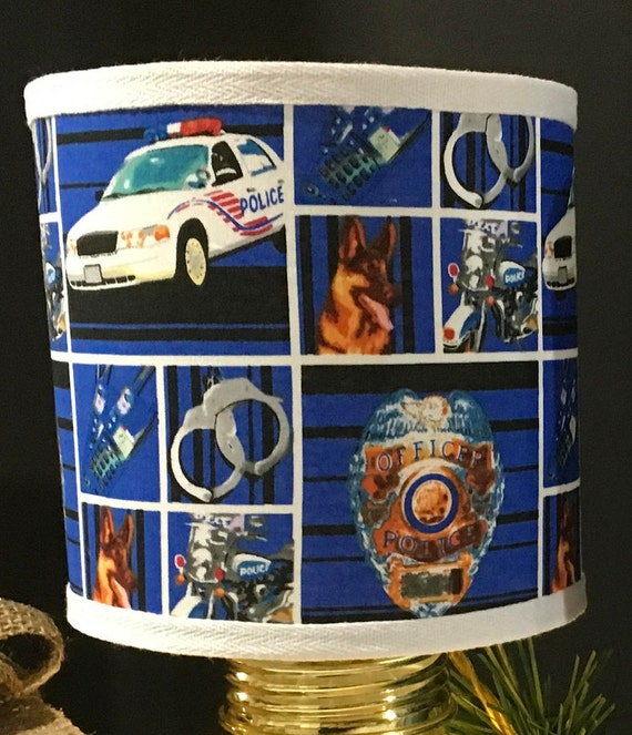 "Extra Small Police Law Enforcement Heroes Fabric Lampshade  -6"" Round"