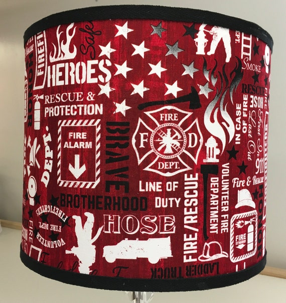 "058 Small Firefighter Silver/ Red Print Fabric Lampshade -  8"" Round"