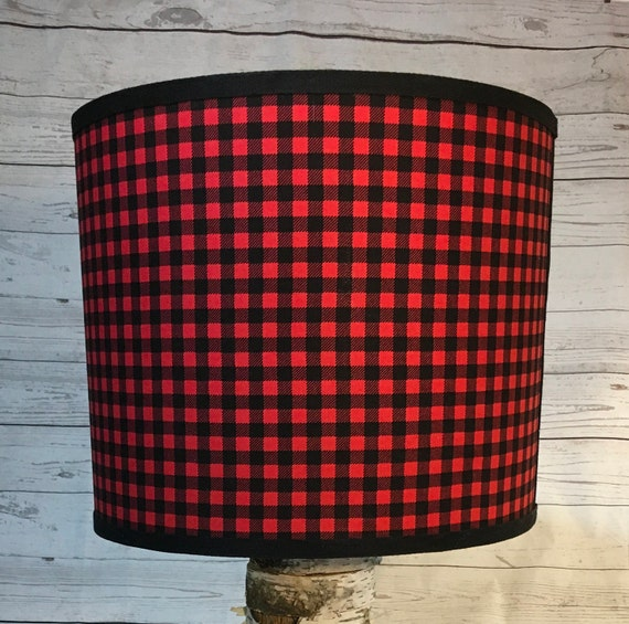 "046 Small Red and Black Check, Checked, or Checkered Print Fabric Lampshade -  8"" Round"