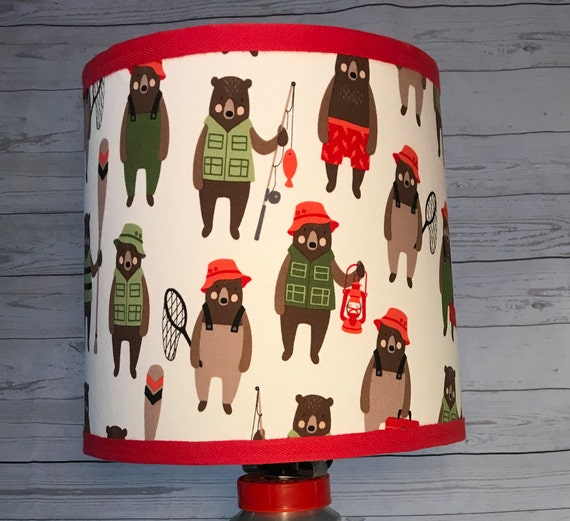 "O016 Small Brawny Bears Fabric Lampshade -  8"" Round"