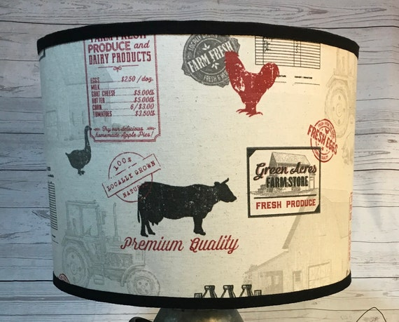 "N033 Large Farmhouse (Red) Fabric Lampshade -  13"" Round"