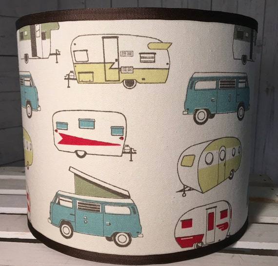 "N043 Medium Vintage Campers Fabric Lampshade -  10"" Round"