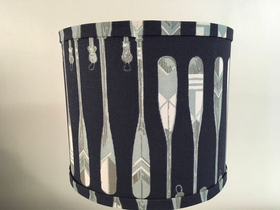 "N013 Small Oars Fabric Lampshade - Navy - 8"" Round"