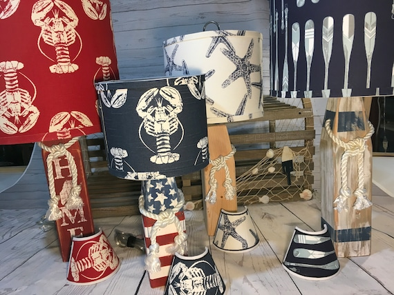 Small Buoy Lamp with Your Choice of Nautical Fabrics Lampshade