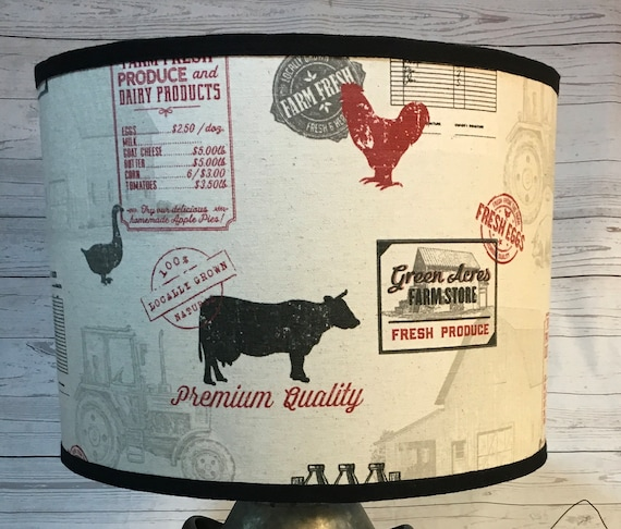 "N032 Medium Farmhouse (Red) Fabric Lampshade - 10"" round"