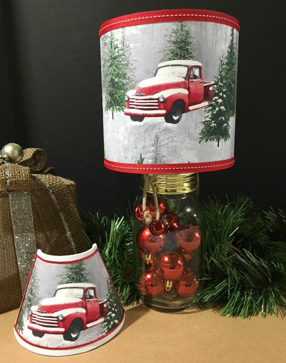 Vintage Red Truck Mason Jar Lamp *SPECIAL*