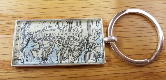 Key Ring Keychain - Rectangular Map or Chart - ANY LOCATION you choose!