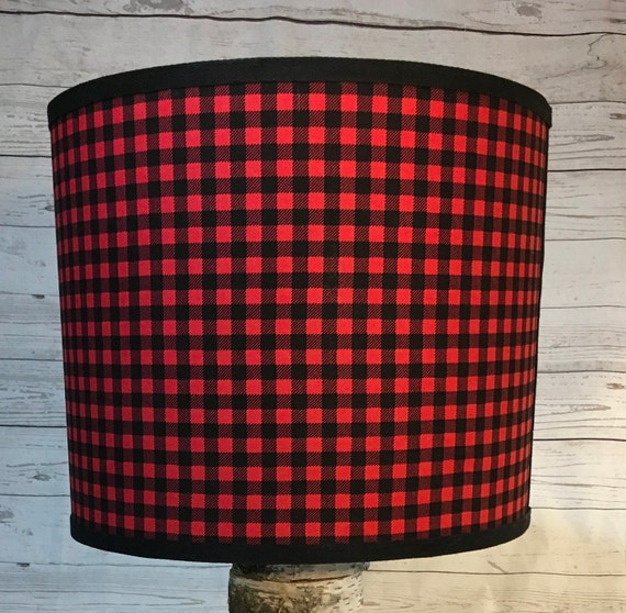 "048 Large Red and Black Check, Checked, or Checkered Fabric Lampshade -  13"" Round"