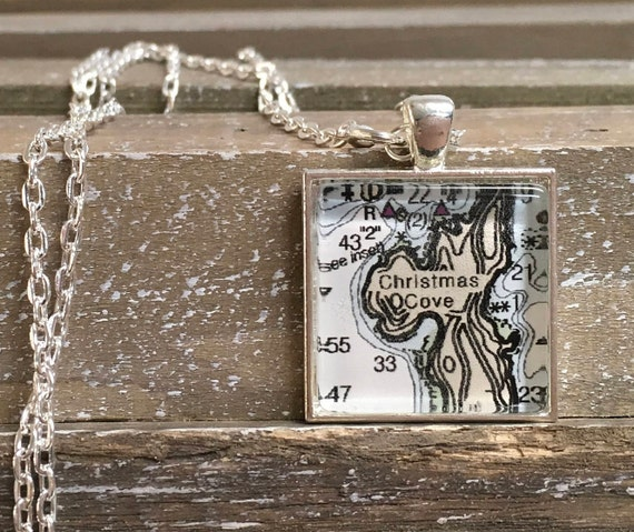 Pendant Necklace - Square Map or Chart - ANY LOCATION you choose!