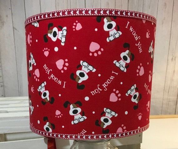 "071 Medium ""I Woof You"" Fabric Valentines Day Pet Lover Lampshade - 10"" Round"