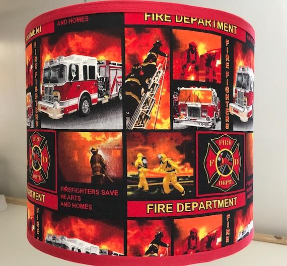 "056 Medium Firefighter Orange/Red Print Fabric Lampshade -  10"" Round"