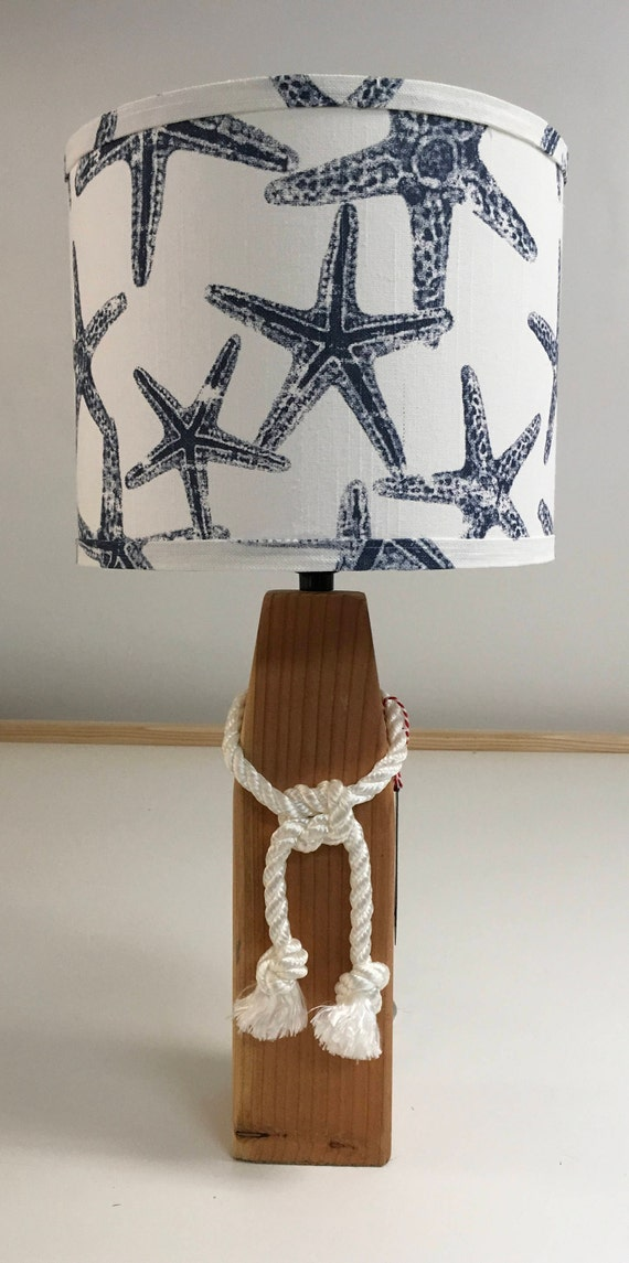 Medium Buoy Lamp with Starfish Fabric Lampshade