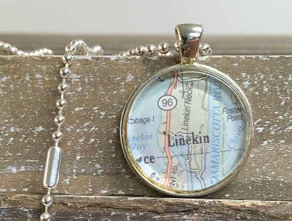 Pendant Necklace - Round Map or Chart - ANY LOCATION you choose!