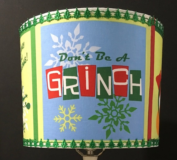 "073 Small Grinch Squares Fabric Lampshade - 8"" Round"