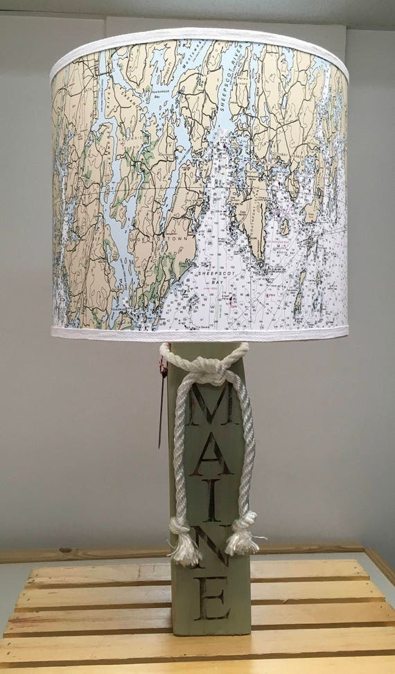 Large Buoy Lamp with Nautical Chart Lampshade