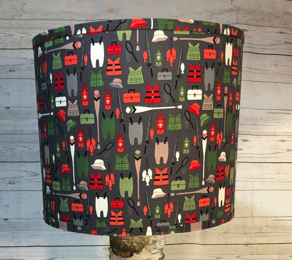 "N021 Large Bears Gear Fabric Lampshade -  13"" Round"