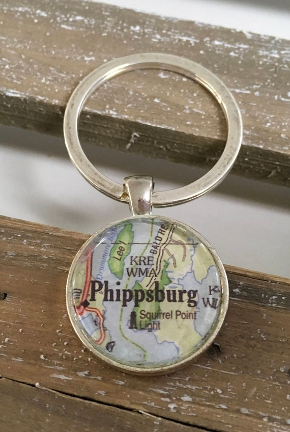 Key Ring Keychain - Round Map or Chart- ANY LOCATION you choose!