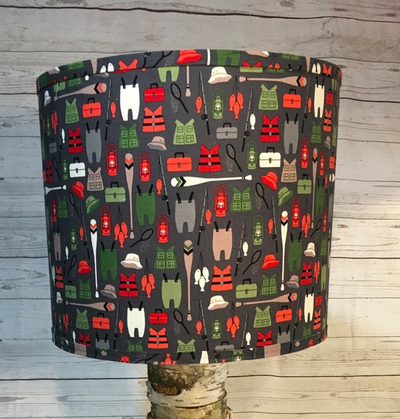 "N020 Medium Bears Gear Fabric Lampshade -  10"" Round"