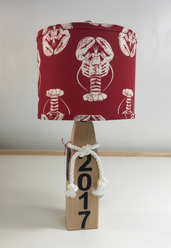 Medium Buoy Lamp with Red Lobster Fabric Lampshade
