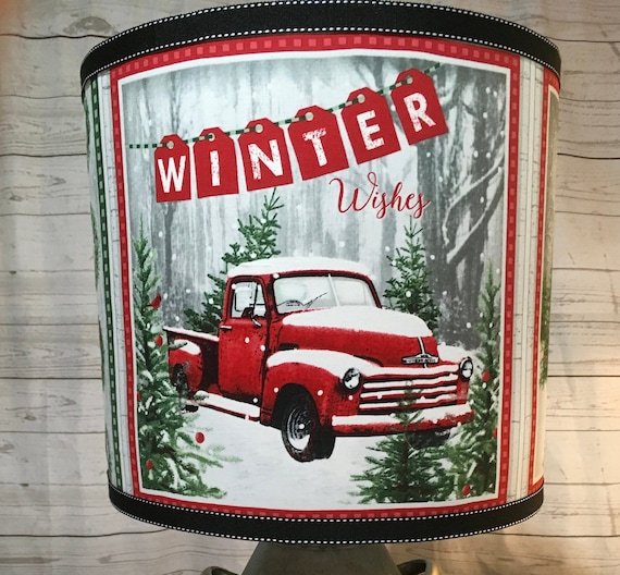 "072 Large Red Truck Panel Lampshade -  13"" Round"