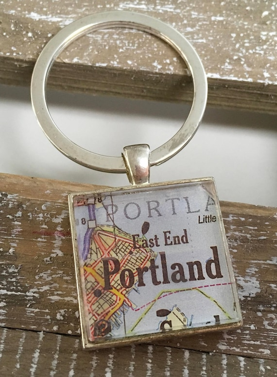 Key Ring Keychain - Square Map or Chart - ANY LOCATION you choose!
