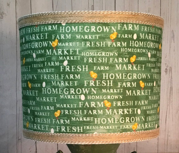 "N035 Farmers Market Fabric Lampshade - 10"" Round"