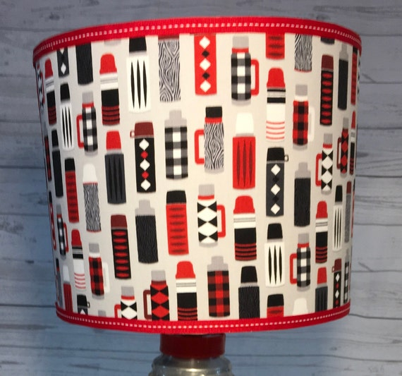 "044 Medium Thermos Print Fabric Lampshade -  10"" Round"