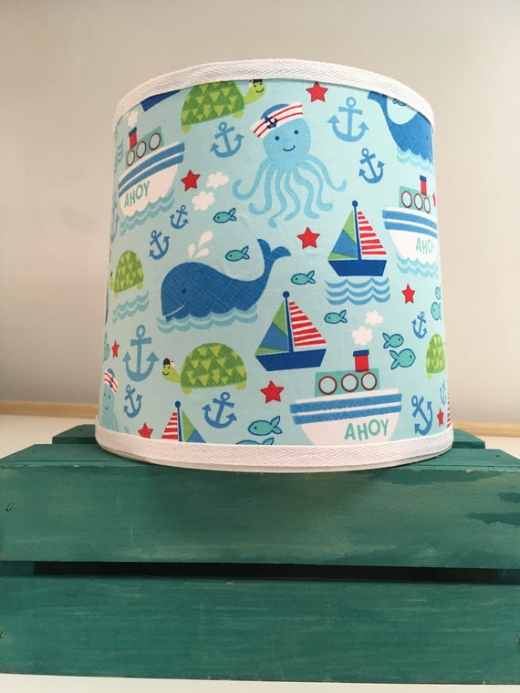 Clearance - Last One - Nautical Fabric Lampshade for Young Sailors!