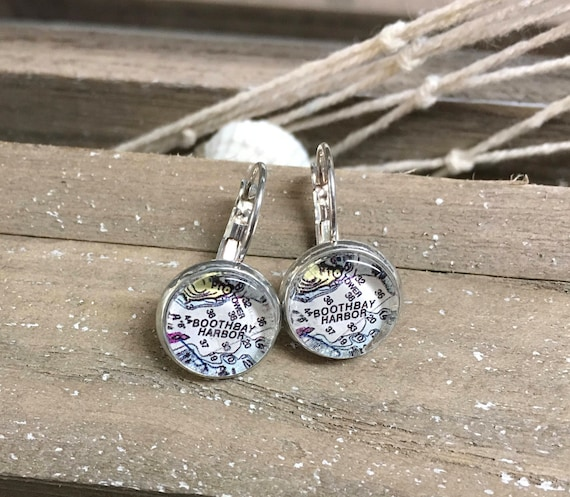 12mm French Leverback Map or Chart Earrings -  Custom made ANY LOCATION you choose!