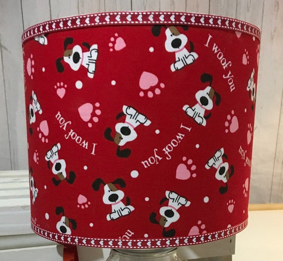 "Extra Small Fabric Lampshade - Valentines Day ""I Woof You"" Print - 6"" Round"