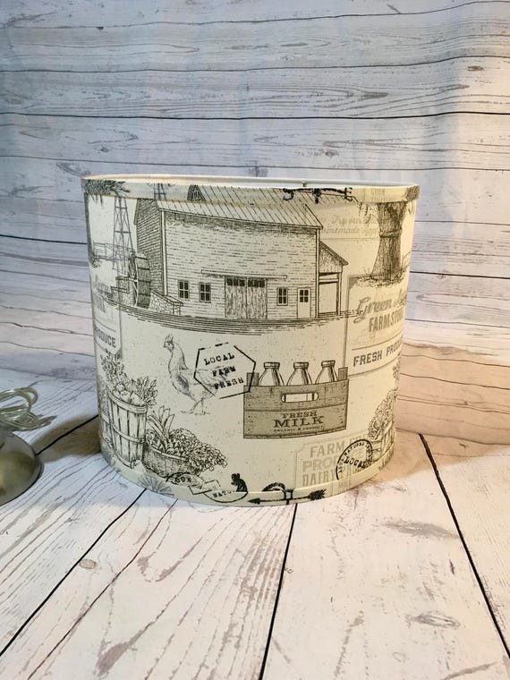 "N034a  Extra Small Fabric Lampshade - Vintage Farmhouse Print - 6"" Round"