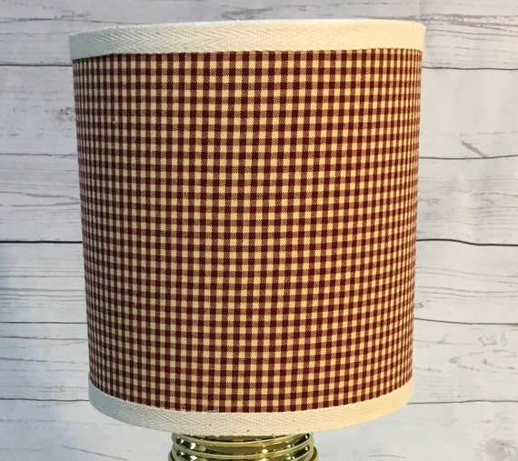"N040  Small Gingham Check Fabric Lampshade -  8"" Round"