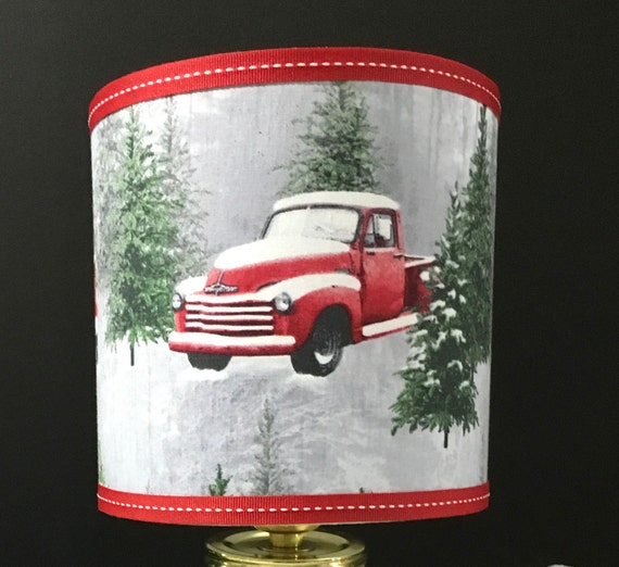 "052 Small Vintage Red Truck Print Fabric Lampshade - 8""  Round"
