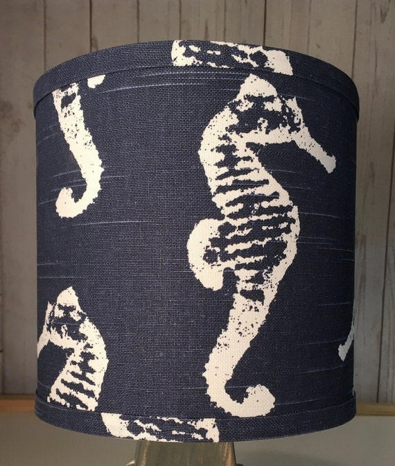 "N007 Small Navy Seahorse Fabric Lampshade - 8"" Round"