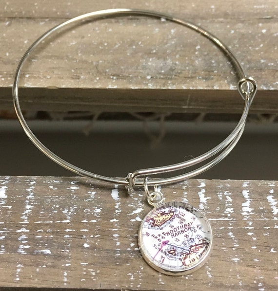 Bracelet - with 16mm Custom Map or Chart Charm - ANY LOCATION you choose!