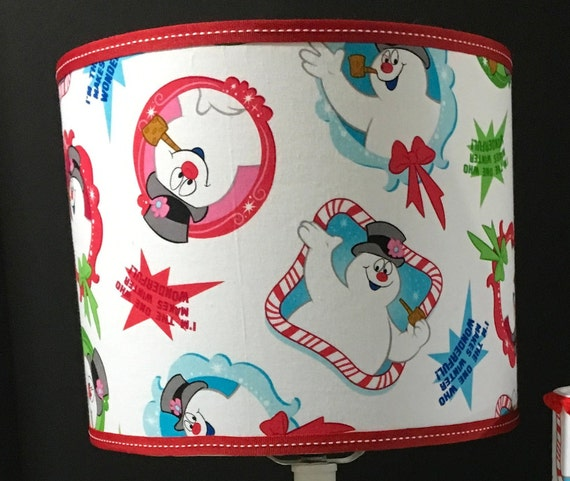 "074 Medium Frosty the Snowman Fabric Lampshade - 10"" Round"
