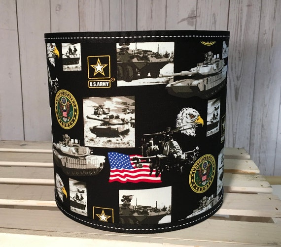 "061 Small Army Military Fabric Lampshade  -8"" Round"