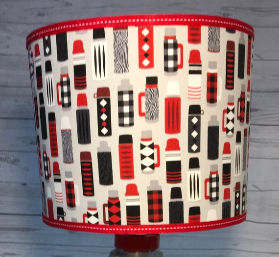 "N043 Small Thermos Print Fabric Lampshade -  8"" Round"
