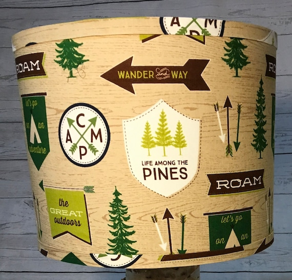 "N043 Large RB Camping Fabric Lampshade -  13"" Round"