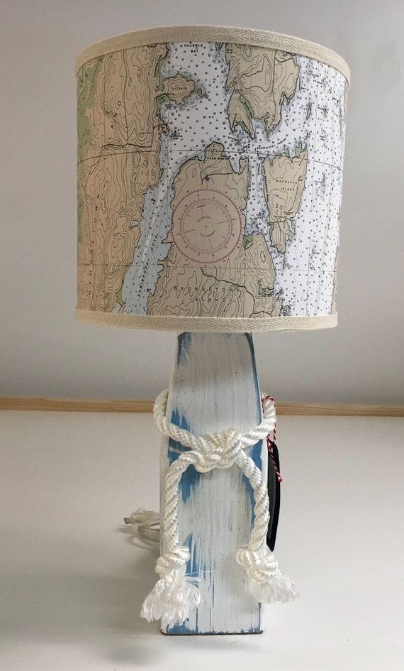 Small Buoy Lamp with Nautical Chart Lampshade