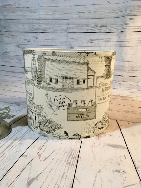"N036 Large Farmhouse (Neutral) Fabric Lampshade -  13"" Round"