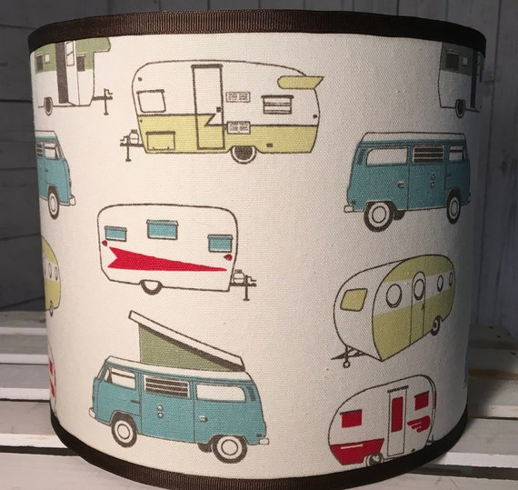 "N043 Large Vintage Campers Fabric Lampshade -  13"" Round"
