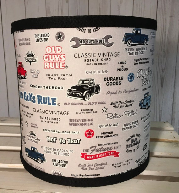 "N043 Small Old Guys Rule Fabric Lampshade -  8"" Round"