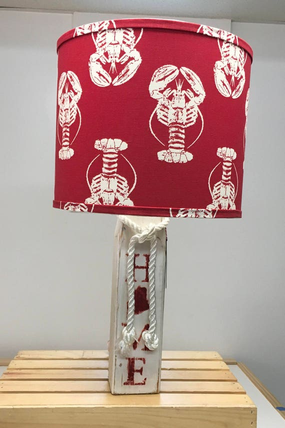 Large Buoy Lamp with Red Lobster Fabric Lampshade