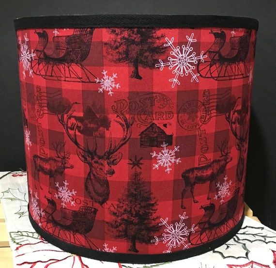 "075 Large Red & Black Christmas Check Fabric Lampshade -  13"" Round"
